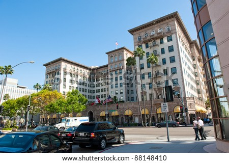 "LOS ANGELES, USA - CIRCA APRIL 2011: The Beverly Wilshire Hotel. The Beverly Wilshire was one of the filming locations for the movie ""Pretty Woman"" (1990)"