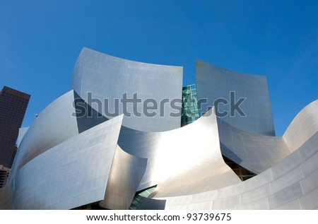 LOS ANGELES, USA - CIRCA APRIL 2011: The Walt Disney Concert Hall.  Bounded by Hope Street, Grand Avenue, and 1st and 2nd Streets, it seats 2,265 people