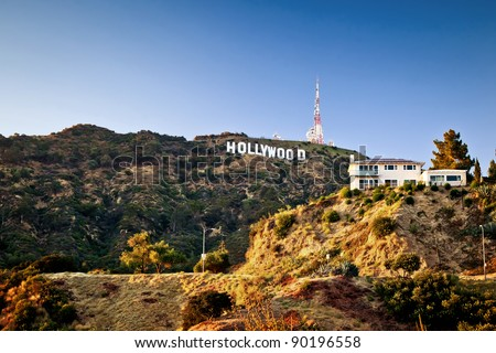 LOS ANGELES, USA - JULY 18: View of Hollywood sign on July 18, 2011 in Los Angeles, California. Sign is located in the Hollywood hills area of Mount Lee, built in 1923