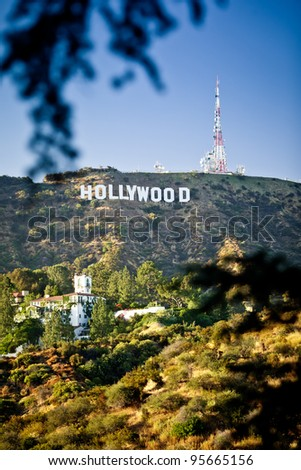 LOS ANGELES, USA - JULY 18: View of Hollywood sign on July 18, 2011 in Los Angeles, California. Sign is located in the Hollywood hills area of Mount Lee, built in 1923 - stock photo