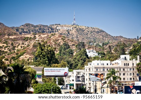 LOS ANGELES, USA - JULY 19: View of Hollywood sign on July 19, 2011 in Los Angeles, California. Sign is located in the Hollywood hills area of Mount Lee, built in 1923