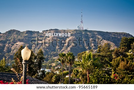 LOS ANGELES, USA - JULY 17: View of Hollywood sign on July 17, 2011 in Los Angeles, California. Sign is located in the Hollywood hills area of Mount Lee, built in 1923