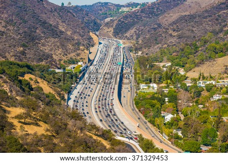 Los Angeles with busy freeway stock photo