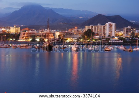 Los Christianos at night, canary island tenerife spain