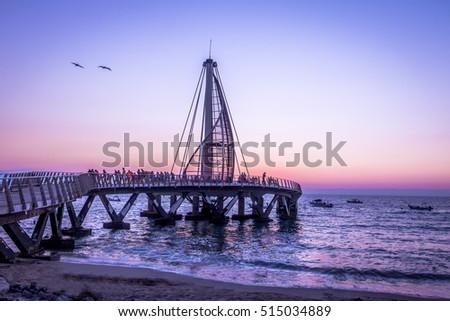 Shutterstock Los Muertos Pier at sunset - Puerto Vallarta, Jalisco, Mexico