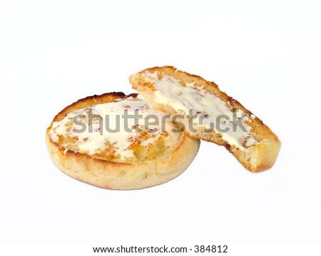 Los panecillos con queso crema mordido - stock photo