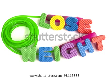 Lose weight concept - colorful sign with alphabet puzzle letters and a jump rope isolated on white background