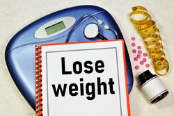 Lose weight. Text label in the planning folder. Obesity, weight gain. Treatment-exercise, proper nutrition, medical supervision.