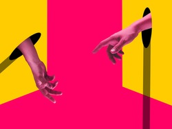 Losing. Bright painted human hands touching by fingers. Contemporary art collage. Modern design work in vibrant trendy colors. Stylish and fashionable composition, youth culture. Copyspace.