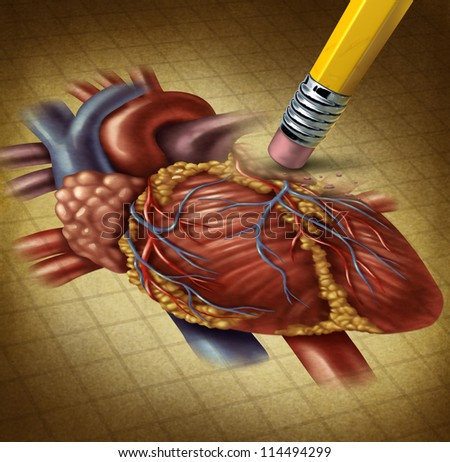 Losing human heart health and a decline in blood circulation causing problems for the cardiovascular system as a pencil eraser erasing an old grunge medical illustration on parchment paper.