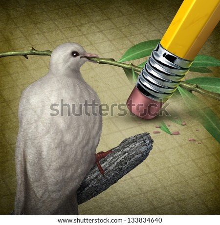 Losing peace crisis concept as a white dove holding an olive branch erased by a pencil eraser as challenges in search for an agreement to stop fighting in the middle East or other countries at war.