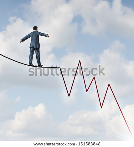 Losing Profit risk and Investment danger as a financial and business concept or metaphor facing wealth adversity as a businessman walking on a high wire tight rope shaped as a downward market graph.
