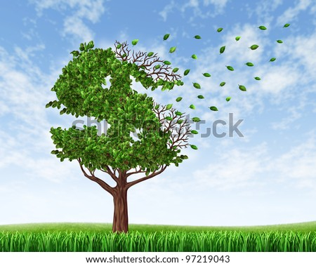 Losing your savings and managing your debt and financial budget with a green tree in the shape of a dollar sign with leaves falling off as an icon of wealth loss and downgrade.