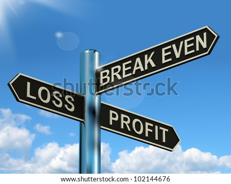 Loss Profit Or Break Even Signpost Shows Investment Earnings And Profits