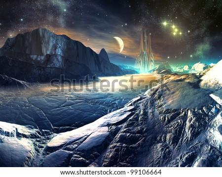 Lost Alien City in Winter Landscape