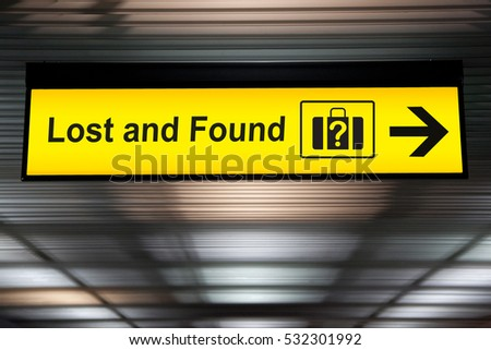 Lost and Found sign at the Airport