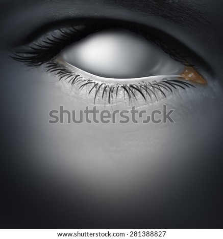 Lost concept and losing memory caused by dementia as alzheimers disease with a blind human eye as a blank white eyeball as a mental health symbol for a psychological crisis of personality.