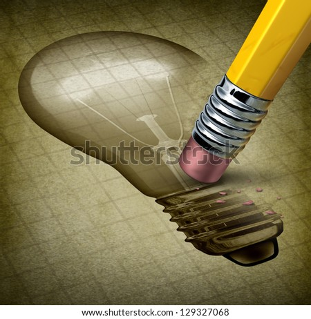 Lost creativity and running out of inspiration for new ideas as writer\'s block with an image of a light bulb being removed by a pencil eraser on an old document as a concept of losing imagination.