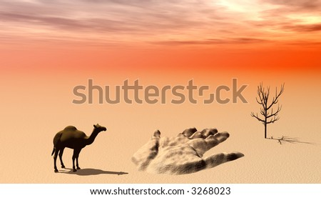 Lost in the desert - camel silhouette in the background - stock photo