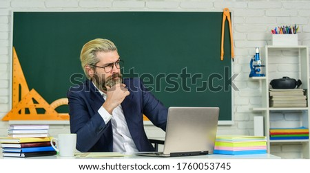 Lost in thoughts. Serious man back to school. Senior teacher look serious in glasses. Business coach thinking with serious face. Profound thinker. School and education. Serious and thoughtful.