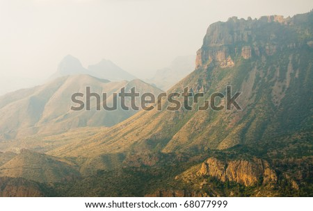Lost Mine trail overlook of the Chisos Mountains at sunrise - stock photo