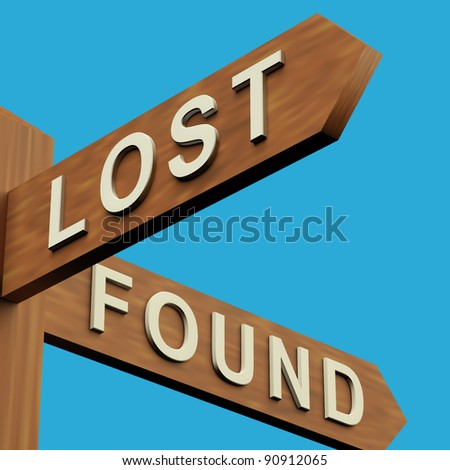 Lost Or Found Directions On A Wooden Signpost