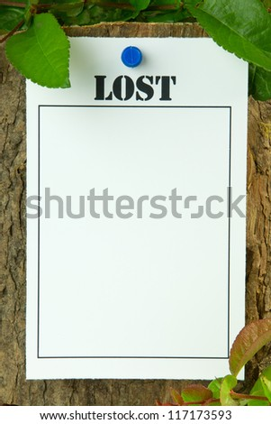 Lost poster on a tree trunk - with copy space