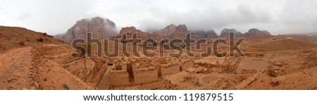 Lost rock city of Petra, Jordan. Petra's temples, tombs, theaters and other buildings are scattered over 400 square miles. UNESCO world heritage site