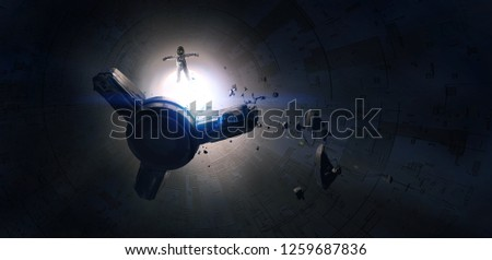 Lost spacecraft damaged in space, science fiction illustrations, digital painting,3D illustration.