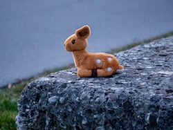 Lost stuffed animal that looks like a bamby toy sitting on a stone