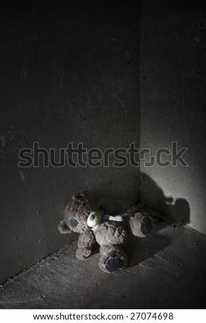 Lost teddy bear - stock photo