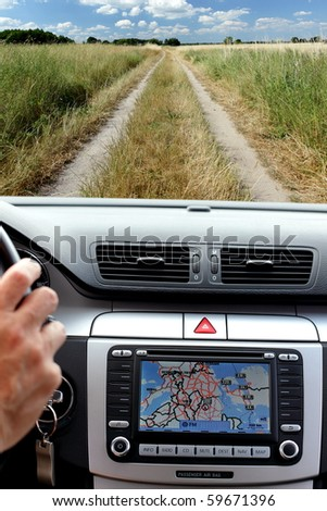 Lost way on the edge of the world and gps navigation display - stock photo