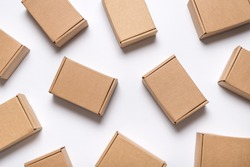 Lot of cardboard boxes on white background