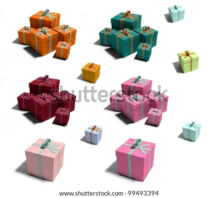 Lot of colorful boxes isolated on white background.