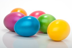 lot of colorful easter eggs isolated against white background