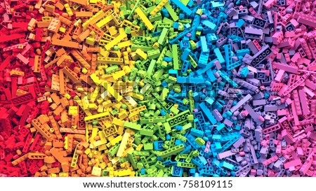 Lot of colorful rainbow toy bricks background. Educational toy for children. 3D Rendering. Сток-фото ©