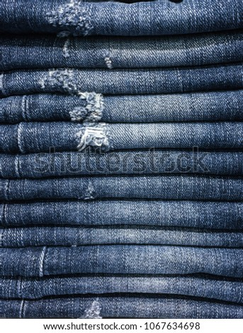 Lot Of Different Blue Jeans, fashion concept