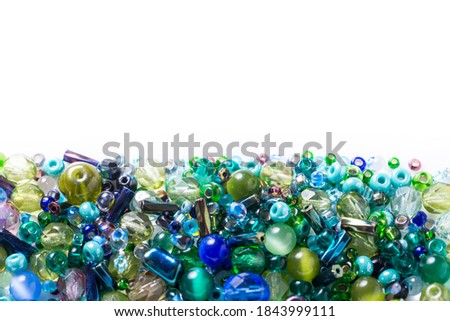 Lot of different glass beads, seed beads on white background Foto d'archivio ©