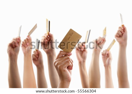 Lot of hands raising and holding gold credit card, against white background