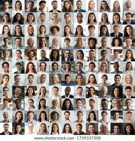 Lot of happy multiracial people looking at camera in square collage mosaic. Many smiling multiethnic faces of young and old diverse ethnic business people group headshots. Hr, staff, society concept. stock photo