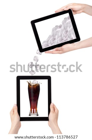 lot of ice drop in to the fresh coke on a digital tablet screen. communication concept