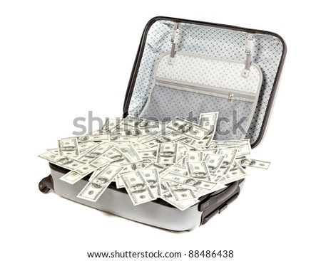 lot of money in a suitcase isolated on white - stock photo