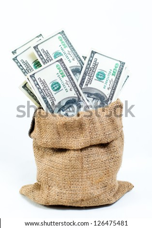 Lot of money in cloth bag