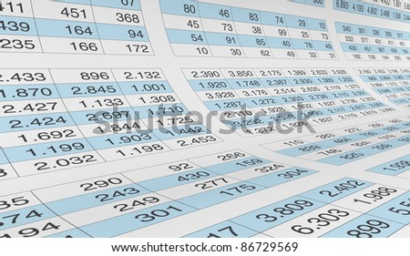 lot of numbers on a spreadsheet (3d render) - stock photo