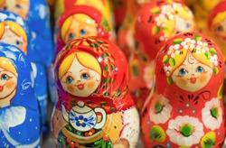 Lot of traditional Nesting dolls or Russian Matryoshka.