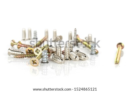 Lot of whole glossy metallic glossy bolt city isolated on white background