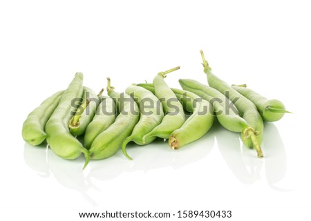 Lot of whole snap green bean pods isolated on white background Сток-фото ©