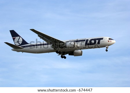 LOT Polish Airlines Boeing 767 - stock photo