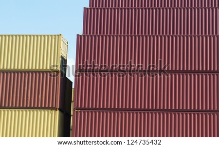 Lot's of cargo containers at the docks.