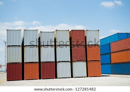 Lot's of cargo containers at the docks